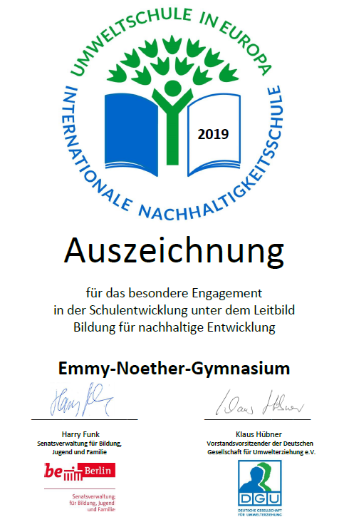 Urkunde Umweltschule 2019